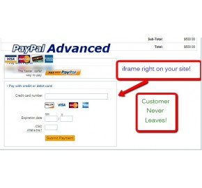 Paypal Advanced (iframe or redirect integration) (1.5.x/2.x)
